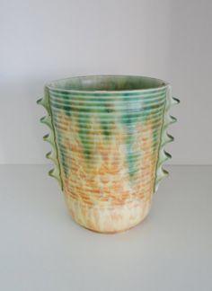 Vintage Vase 1930s Art Deco Vase Mottled Green Orange Yellow Glaze by Morville Pottery, England