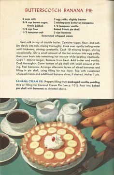Butterscotch Banana Pie, Vintage Pie Recipes, 1950s Pie Recipes