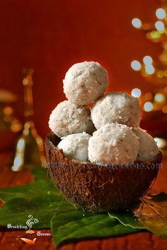Narkel Naru is type of coconut laddoo. Narkol Naru is a bengali traditional dessert to serve on Bijoya and Lakkhi Pujo, Janmashtami and Poush Sankranti. Indian Desserts, Indian Sweets, Indian Dishes, Indian Food Recipes, Sweets Photography, Amazing Food Photography, Food Photography Tips, Party Food Platters, Diwali Food