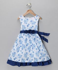 Take a look at this Light Blue Floral Polka Dot Dress - Toddler by Spot On: Kids' Apparel on #zulily today!