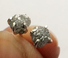 Diamond Studs Grey Rough Diamond Studs Uncut by gemsforjewels