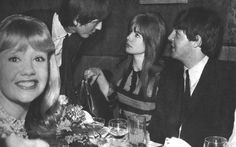 (l. to r.): Hayley Mills, George Harrison, Jane Asher and Paul McCartney Paul and George take advantange of Ringo's early-morning set call by attending a Pickwick Club party for Sammy Davis Jr.  Accompanying them are actresses Hayley Mills and Jane Asher, Paul's new girlfriend.
