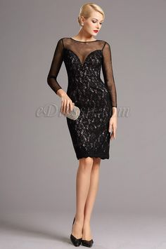 Black Lace Long Sleeves Short Cocktail Dress