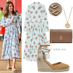 Duchess Kate's outfit wore for visit to South Wales on 5 Aug 2020 Duchess Kate, Duke And Duchess, Duchess Of Cambridge, Kate Middleton Outfits, Aurora Dress, Emilia Wickstead, South Wales, Royal Fashion, British Royals