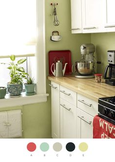 Green Kitchen Wall with White Cabinet. Green Kitchen Wall with White Cabinet. Green Kitchen Walls, Kitchen Paint Colors, White Kitchen Cabinets, Kitchen Redo, New Kitchen, Green Walls, Kitchen White, Kitchen Ideas, Red Cabinets