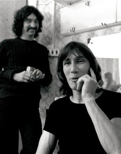 Roger Waters & Nick Mason/// Who else imagines this as Nick & Roger making a prank call on their anachronistic cellphone lol???