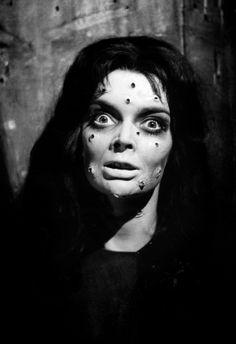"9/02/14 2:23a ""Black Sunday"" aka ""Mask of Satan"" Barbara Steele Tortured with a Steel Mask imbedded with Nails Italian Film 1960. bluevelvetvintage.com"