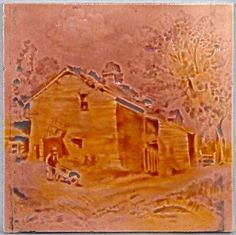 Antique English Tile Of A Farm By Sherwin Cotton