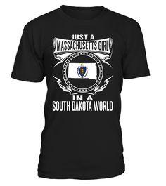Massachusetts Girl in a South Dakota World State T-Shirt #MassachusettsGirl