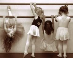 Little girls at ballet bar