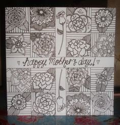Mother's Day doodles - black & white blocks of intricate florals, perfect for colouring in yourself.