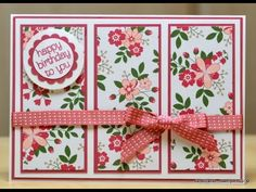 card making video tutorial: Three Panel Card by JanB UK Stampin' Up! Demonstrator Independent ... luv how she uses patterned paper  and lines upf all of the layers ...