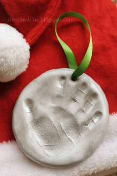 12 Days of Christmas Ornaments - Day 2: Clay Hand Print.. should do this for my grand daughter.. would be precious with her 'first Christmas' hand print.