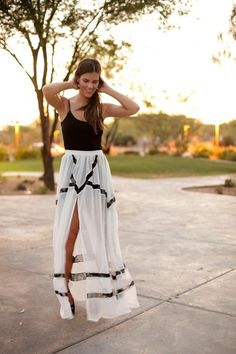 White sheer maxi skirt with black lines. So effortless.