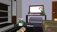 Desenho de mobiliário - Rack , aparador lateral e mesa de centro