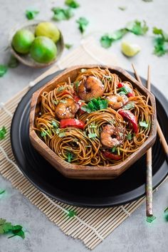 Easy Shrimp Lo Mein Noodles - perfect for busy weeknights! Best of all, takes less than 30 minutes to make with an authentic sauce and skip the takeout!