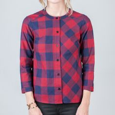 PLAID EVA BUTTON UP