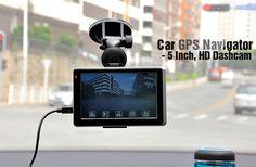 Car GPS Navigator - 5 Inch, HD DVR Dashcam =====> Portable GPS navigation device with 5 inch screen and built in HD car DVR.   5 Inch Touchscreen  Built in HD Dash Camera  FM Transmitter  Multimedia Player  SiRF AtlasV Chip