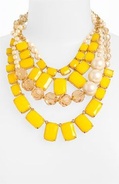 kate spade new york 'treasure chest' statement necklace. Loving this yellow. Jewelry Box, Jewelry Accessories, Fashion Accessories, Fashion Jewelry, Jewlery, Fashion Shoes, Bijou Box, Yellow Necklace, Bold Necklace