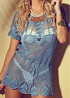 Fabulous Crochet a Little Black Crochet Dress Ideas. Fabulously Georgeous Crochet a Little Black Crochet Dress Ideas. Crochet Skirts, Crochet Tunic, Filet Crochet, Crochet Clothes, Crochet Bikini, Crochet Top, Crochet Woman, Summer Dresses For Women, Beautiful Crochet
