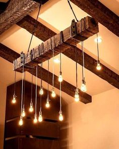 7 foot Reclaimed Wood beam Chandelier by UniqueWoodIron on Etsy
