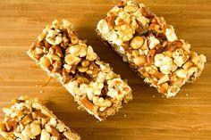 Salted Caramel Popcorn Pretzel & Peanut Bars | via Brown Eyed Baker