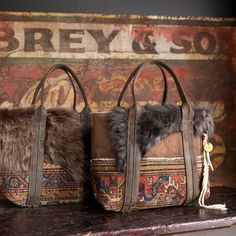 Antique carpet and canvas with shearling totes by J. Augur Design, 2014.