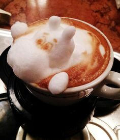 This 3D hippo latte foam art is very impressive!