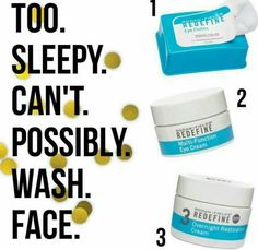 It's as easy as 123 ladies! Too tired to do a full regimen at night? I've been guilty of this many times! Don't skimp and at least use the wipes, the eye cream and the overnight restorative cream, your skin will thank you!! Message me today and let's get started! Kaseyzimmerman.myrandf.com