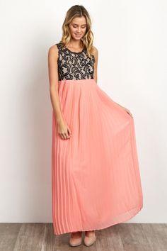 Coral Pleated Chiffon Lace Top Maxi Dress
