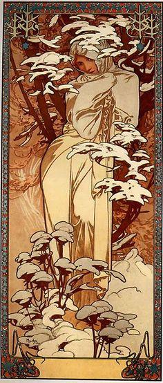 Alphonse Maria Mucha (1860-1939), Winter, Decorative panel, 1897.