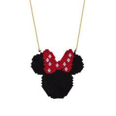 Beaded Minnie Mouse Necklace Minnie Miyuki por SinezarHandmade