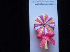 Lollipop ribbon sculpture hair clip , boutique hair bow, multi color   bowsandbling2 - Children's on ArtFire