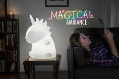 Giant Unicorn Lamp: Enormous color-changing desktop light.