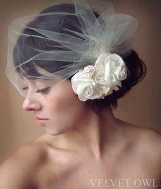 Ivory tulle birdcage veil with detach satin rose by VelvetOwl, $87.00