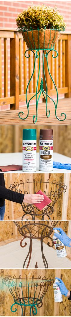 Have a rusty old plant stand? Give it a vibrant new outlook with Rust-Oleum Stops Rust. This rich gloss jade pops on any porch, patio or deck! Apply it to indoor or outdoor planters, pots, plant stands and metal furniture. This  protective spray paint will keep it looking new through summer, fall, winter and spring.