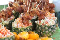 Tropical conch salad served inside a hollow pineaapple - a favorite at Jazz in the Gardens - Miami