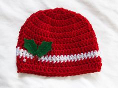 Baby hat/ Christmas hat/ Crochet baby hat by PinkyRoo on Etsy $15