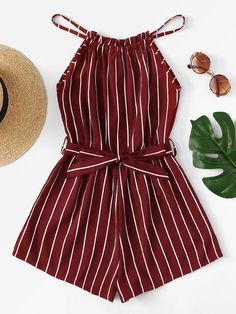 Tie Waist Striped Halter Romper - femme tendance femme tendance - Jumpsuits and Romper Cute Summer Outfits, Cute Casual Outfits, Pretty Outfits, Stylish Outfits, Spring Outfits, Winter Outfits, Stylish Clothes, Casual Clothes, Girls Fashion Clothes