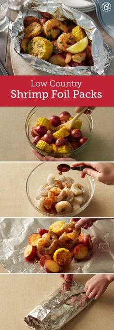 This foil-pack version of the Southern classic brings together andouille sausage, shrimp, corn on the cob and baby red potatoes for an all-in-one meal that's sure to please. To make in oven, place packs on cookie sheet. Bake at 23 to 25 minutes or u Seafood Dishes, Seafood Recipes, New Recipes, Dinner Recipes, Cooking Recipes, Favorite Recipes, Healthy Recipes, Seafood Boil, Bake Shrimp In Oven