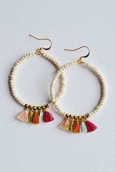 | Summer Tassel Earrings | $20 | Foi Clothing | Accessories | Beaded Tassel Multi Color | Sale Earrings | Hoop Beaded Summer Earrings |                                                                                                                                                                                 More