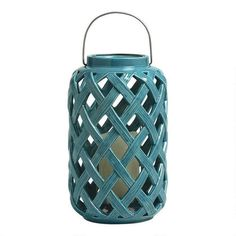 One of my favorite discoveries at Christmas Tree Shops andThat! - Blue Lattice Ceramic Candle Lantern