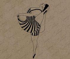 Flapper Swimsuit Clip Art Illustration Vintage by nannyscottage, $2.00