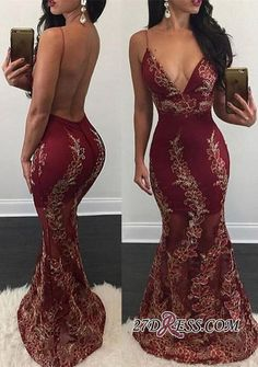 Burgundy Mermaid Prom Dresses Flower Appliques Sexy Backless V-Neck Sheer Evening Gowns Backless Prom Dresses, Mermaid Prom Dresses, Sexy Dresses, Beautiful Dresses, Wedding Dresses, Prom Gowns, Dress Prom, Formal Dresses, Bridesmaid Dresses