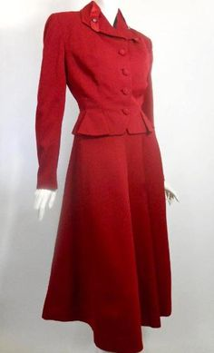 1950s red wool Lilli Ann suit with  full skirt - I would totally wear this now
