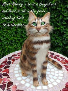 Needle Felted Life-Size Bengal Cat -  Art Cat made by Belvintas