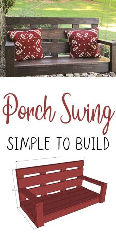 Free porch swing plans by ANA-WHITE.com #anawhite #porchswing #diy #woodworking #outdoorliving Woodworking Projects Diy, Diy Wood Projects, Home Projects, Woodworking Plans, Outdoor Projects, Decorating Your Home, Diy Home Decor, Diy Furniture Plans, Building Furniture