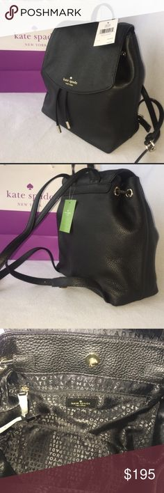 """KATE SPADE ♠️ """"Sm. Breezy/Mulberry St."""" Backpack! KATE SPADE ♠️ """"Small Breezy/Mulberry St."""" Backpack! Black pebble leather drawstring backpack. Beautiful gold rivets with Spade logo detail on drawstrings. Adjustable strap. Interior zippered pocket. Measurements are approximately 10"""" height x 10"""" width x 4.75"""" depth! Care instruction booklet included. NWT. Dust bag included! kate spade Bags Backpacks"""