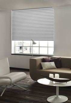 graues sensuna® Plissee am Wohnzimmer Fenster