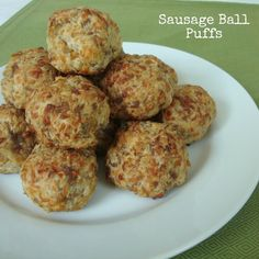 Sausage Ball Puffs - I want to make them healthier by using a homemade baking mix with sprouted whole grain flour. They look delicious!